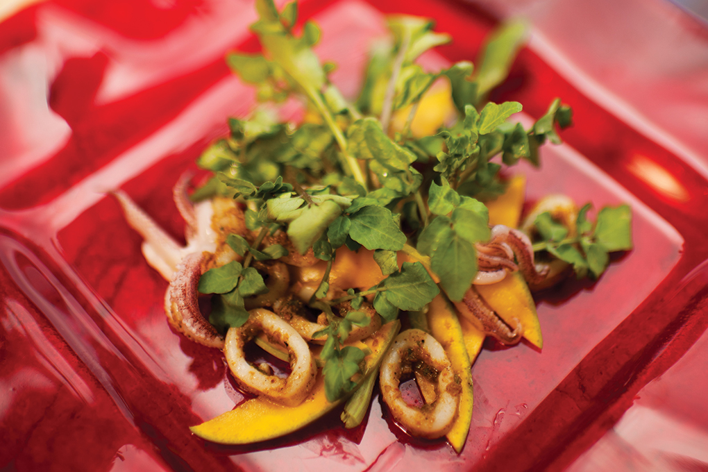 Chef Allen Susser taps into the flavor influences of South Florida, infusing his dishes with Latin touches, such as this jerk calamari, mango and watercress salad.