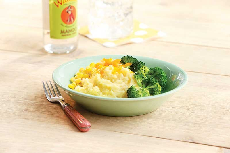 Mashed Yukon golds are enriched with soy milk for a creamy base.