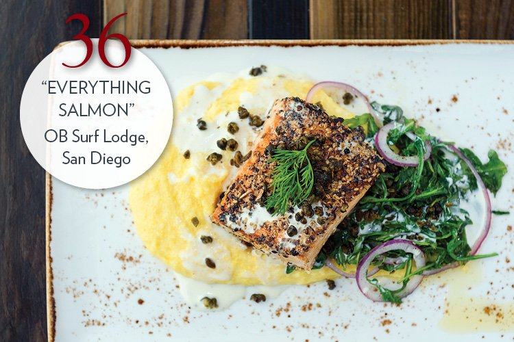 """""""Everything"""" Salmon with creamy polenta, arugula, red onion, fried capers, buttermilk sauce"""