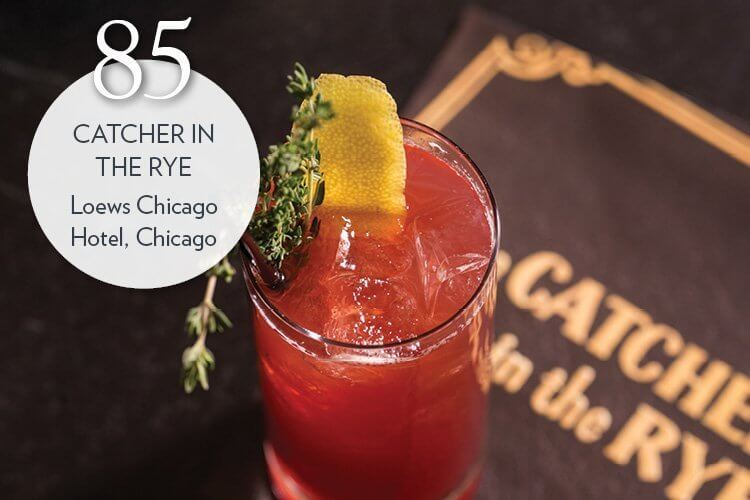 Catcher in the Rye, made with Rittenhouse rye, beet syrup, lemon, Angostura bitters, ginger ale