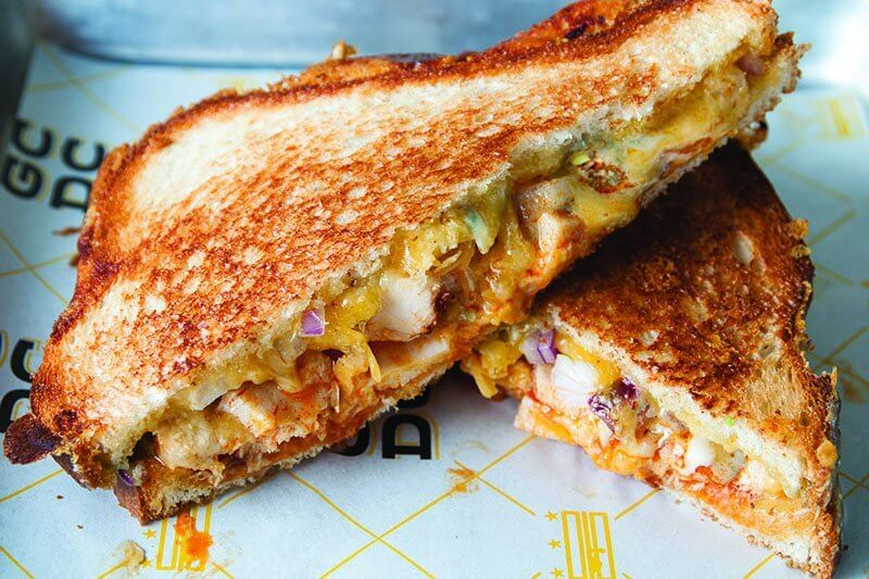 The beloved Buffalo flavor system works its magic on the Buffalo Blue Grilled Cheese at GCDC, incorporating blue cheese, Buffalo chicken and hot sauce.