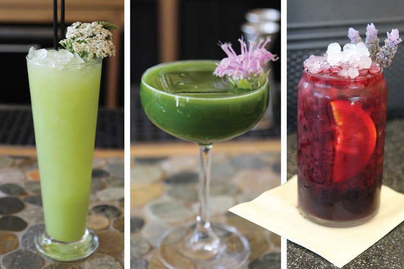 Creative ingredients add interest to cocktails. Bad Hunter's Riesling Rickey (left) includes snap pea syrup while its Matcha Man (center) pairs matcha powder and lime. Salazar menus Afternoon Delight (right), with an infusion of hibiscus flowers.