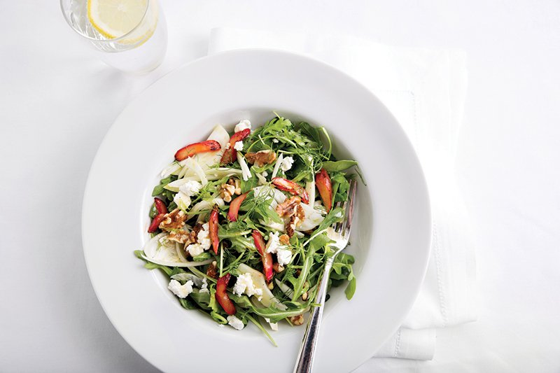 This composed salad from Harvard features greens, herbs, chard, walnuts and goat cheese.