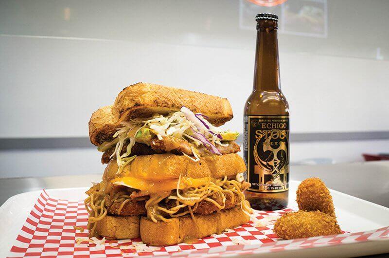 Mr. Katsu in Fullerton, Calif., serves up craveable Japanese katsu sandwiches. Its fully loaded Yakisoba Katsu offers pork katsu, coleslaw, yakisoba noodles and katsu sauce.