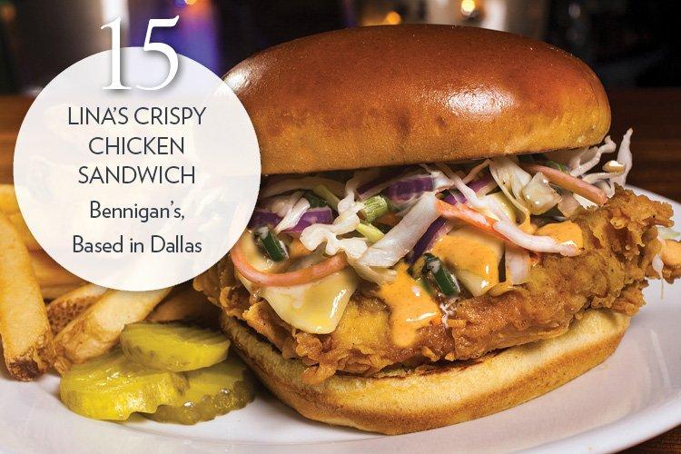 Lina's Crispy Chicken Sandwich Fried chicken breast, pepper Jack, Sriracha aïoli, coleslaw, brioche roll