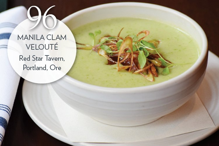 Manila Clam Velouté with early green garlic and smoked bacon