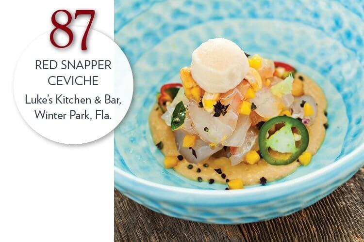 Red Snapper Ceviche with cashew butter, pickled mango and jalapeño sorbet