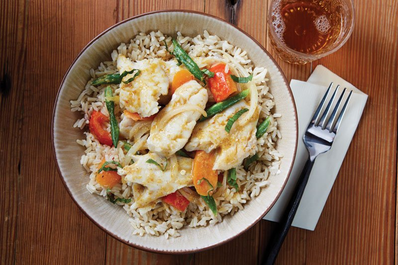 New techniques bring out the flakiness in pollock, making it a versatile player in modern seafood offerings, such as this Coconut Thai Curry Alaska Pollock with brown jasmine rice