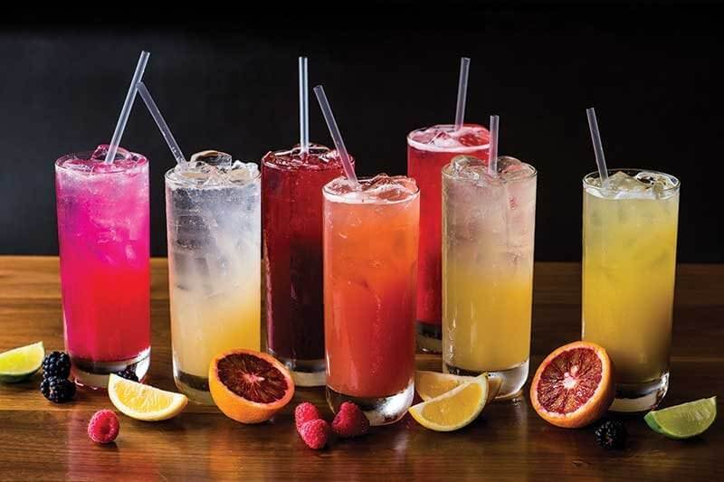 Artisan sodas offered at Roam Artisan Burgers are sweetened with only fruit juice or agave. Housemade flavors such as Ginger-Lime and Prickly Pear are available year round.