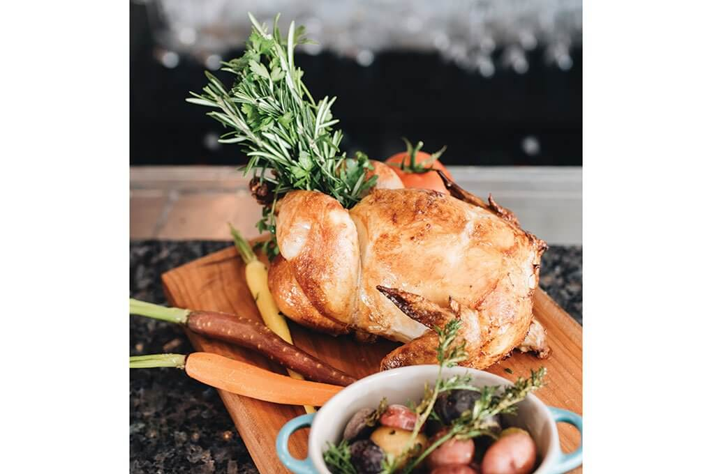 Rotisserie-roasted heritage-breed chicken, potatoes