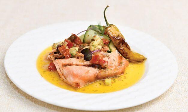Grilled Chilean Salmon, Cured Tomato and Olive Vinaigrette, Shishito Pepper