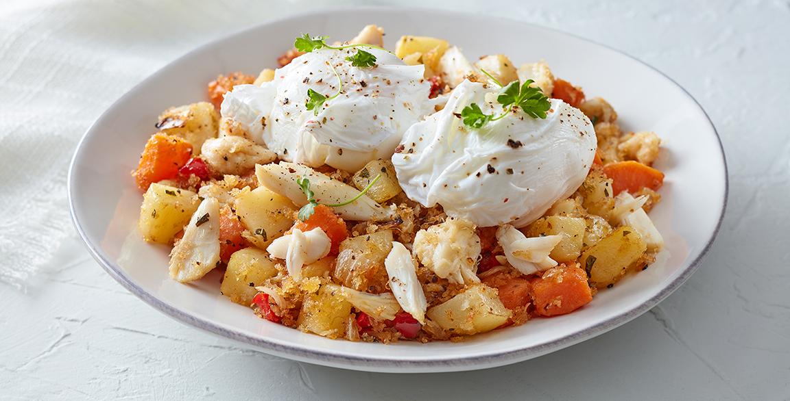 Idaho Potato and Crab Hash with Poached Eggs photo