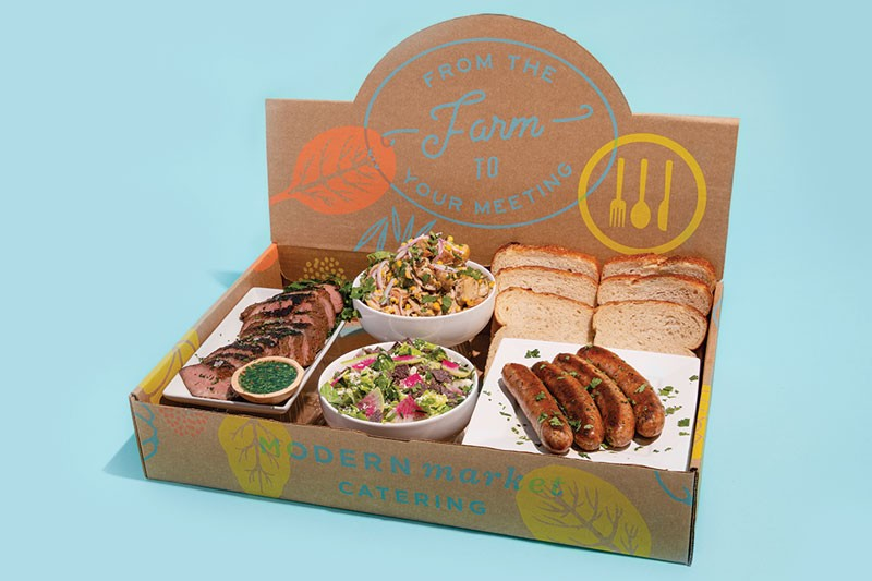 """Both Lemonade and Modern Market launched commodity boxes when storefronts closed, and have since added """"experience boxes,"""" expanding the way consumers interact with their brands. Modern Market's Father's Day Box (above) featured grass-fed steak, sausages, spicy potato salad, scallion ranch salad and sourdough bread."""