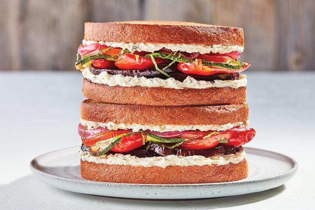 Boursin Garlic & Fine Herbs with Roasted Vegetables Sandwich