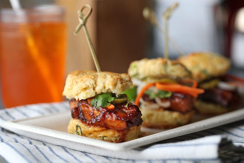 Bourbon-Glazed Pork Belly Biscuit Sliders