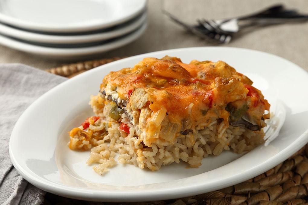 Creamy Cheesy Chicken Rice Casserole