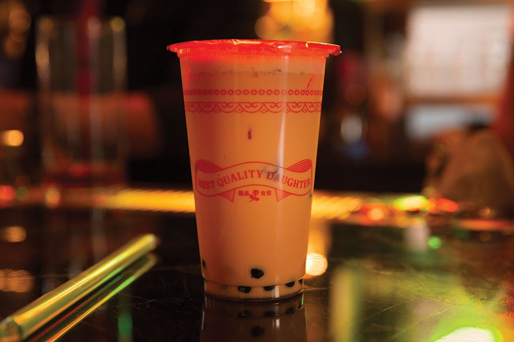 I Used to Live in Thailand, featuring Thai tea, aged rum, Clement Créole Shrubb and Angostura bitters, is on the playful Boozy Boba menu at Best Quality Daughter in San Antonio.