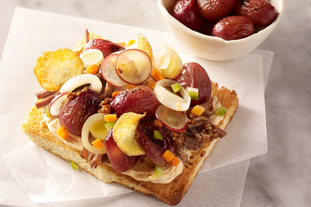 Brisket and Smoked Grapes Toast Toppers