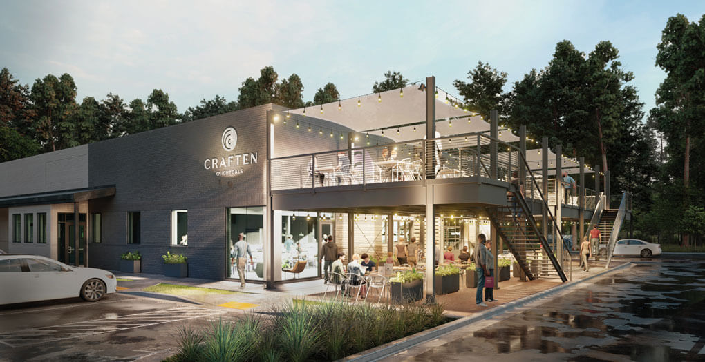 Craften, a hybrid-model food hall coming soon to the Raleigh, N.C., suburbs, showcases a boutique feel and elevated hospitality through table service.